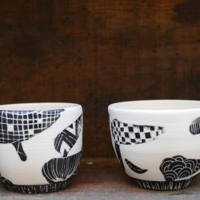 Tasses porcelaine et engobe